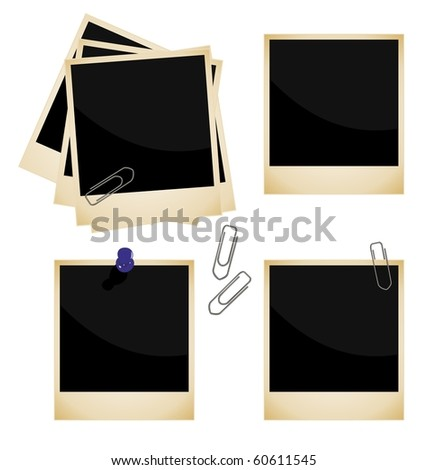 Realistic illustration of set a photo frame - vector - stock vector