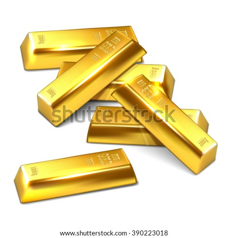 Realistic illustration of shiny golden bars on the white background - vector illustration - stock vector