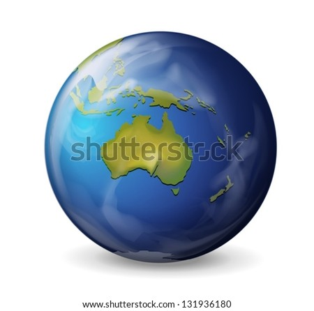 Realistic illustration of the Earth on white