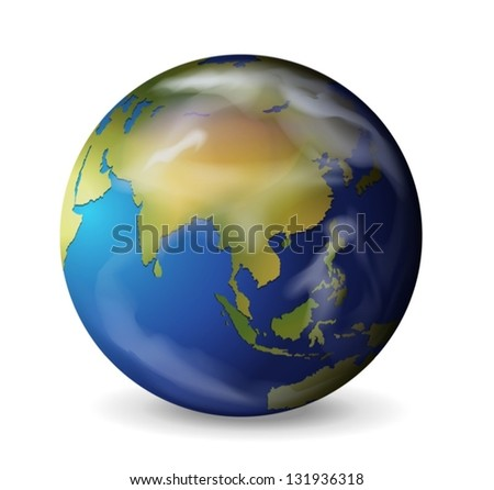 Realistic illustration of the Earth on white - stock vector