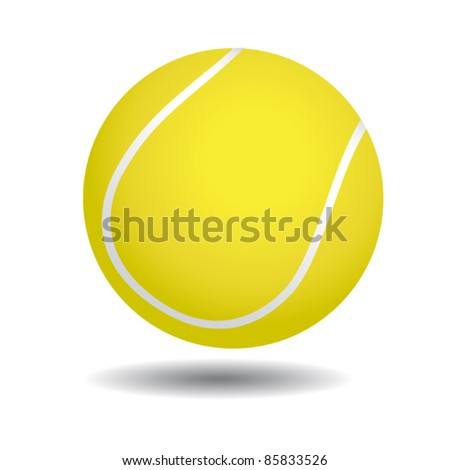 realistic illustration of yellow tennis ball, isolated on white - stock vector
