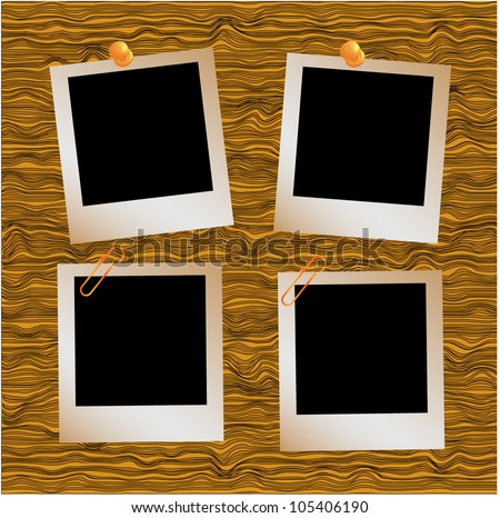 Realistic illustration set of three  photo frames in vector format tapping with metal paperclip on wooden floor. - stock vector