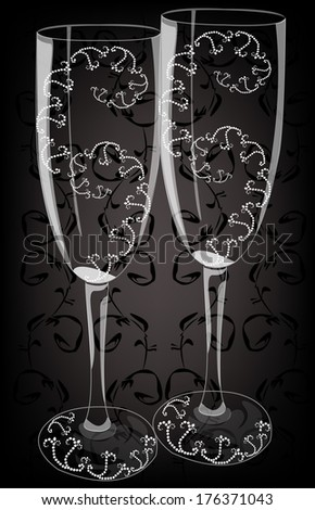 realistic illustrations wedding glasses