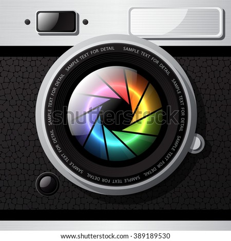 Realistic isolated camera and lens, Vintage design, Vector graphic illustration. - stock vector