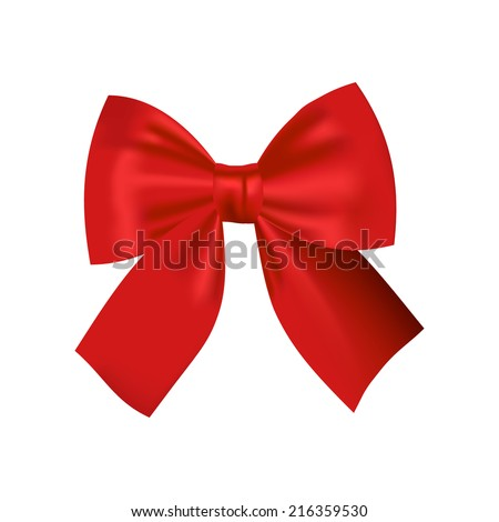 Realistic Isolated Red Bow. Decorative Design Element. Vector Illustration. - stock vector