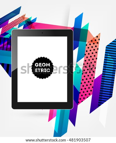 Realistic Isolated Tablet PC Icon with Geometric Background - Vector Illustration