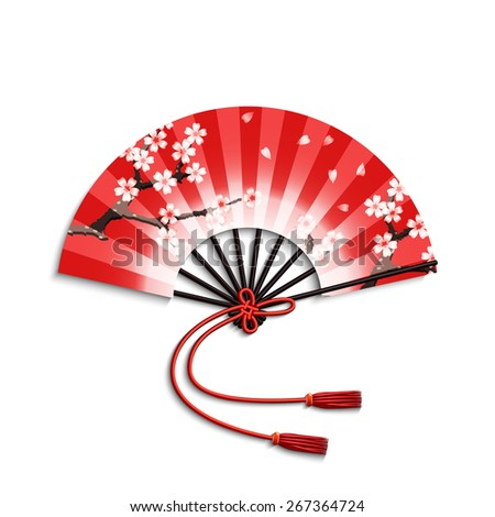 Realistic japanese folding fan with sakura flowers ornament isolated on white background vector illustration - stock vector