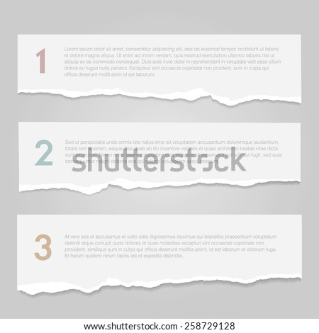 Realistic lacerated white paper banners. Vector illustration. - stock vector