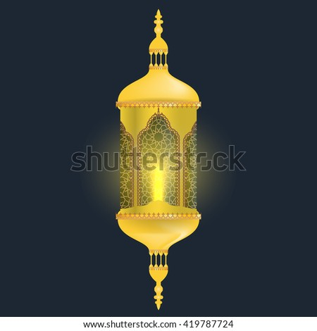 Realistic Lamp of Ramadan for greeting card background. Golden Ramadan lantern with light effect.