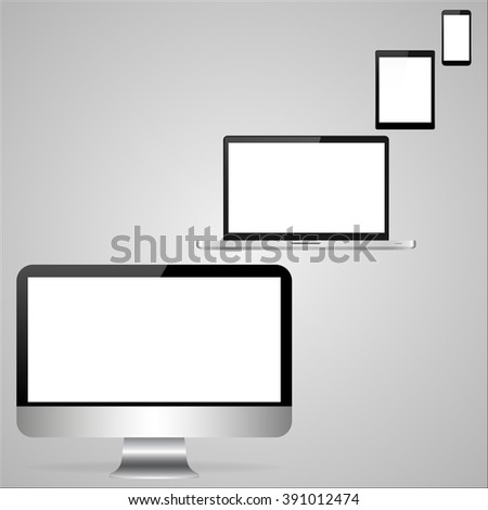 Realistic laptop, computer, tablet and mobile phone  on a light gray background