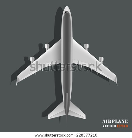 Realistic large passenger airplane isolated on black background. Design element plane. Vector illustration icon EPS10 - stock vector