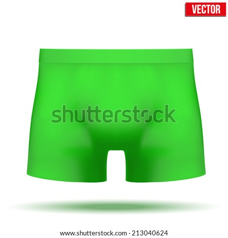 Realistic layout of Male green underpants brief. A template simple example. Editable Vector Illustration isolated on white background.