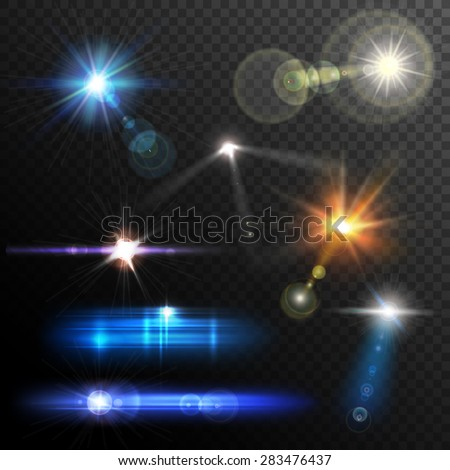 Realistic lens flares beams and flashes on transparent background vector illustration & Camera Flash Light Stock Images Royalty-Free Images u0026 Vectors ... azcodes.com