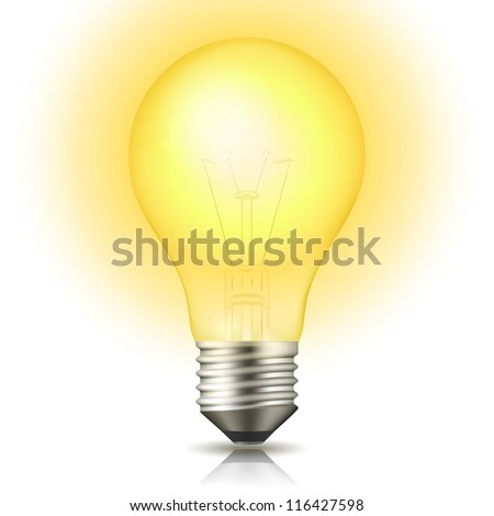 Realistic lit light bulb isolated on white. Vector Illustration - stock vector