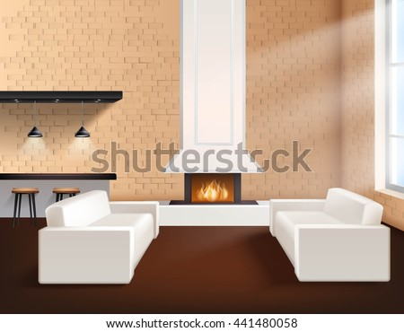 Realistic loft interior in minimalistic style concept with two sofas cupboards and fireplace vector illustration - stock vector