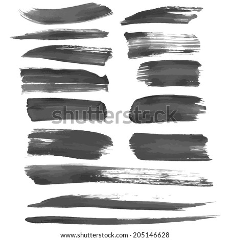 Realistic long smears of black ink or paint vector illustration - stock vector