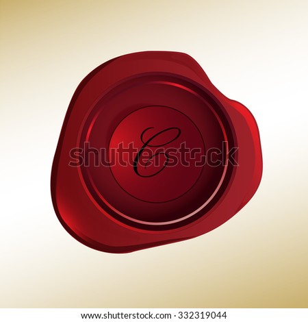 Realistic looking red wax stamp with the initial C - stock vector