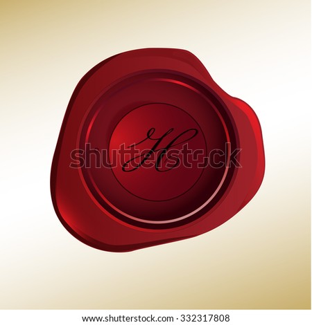 Realistic looking red wax stamp with the initial H - stock vector