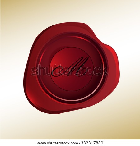 Realistic looking red wax stamp with the initial M - stock vector