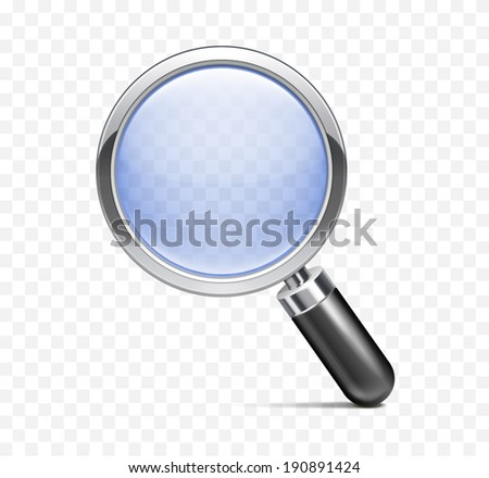 Realistic magnifying glass, isolated background