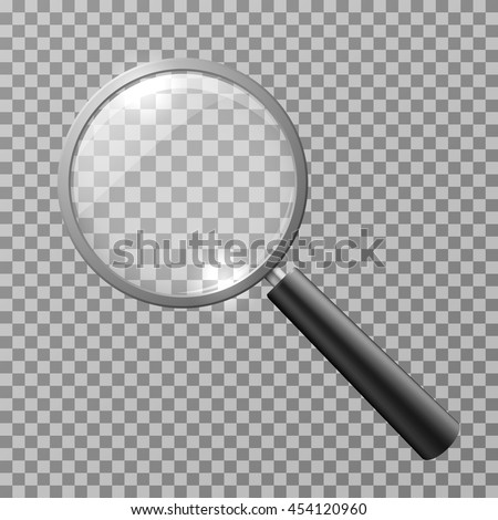Realistic magnifying glass isolated on checkered background vector illustration. Magnifying glass object for zoom and tool with lens for magnifying - stock vector