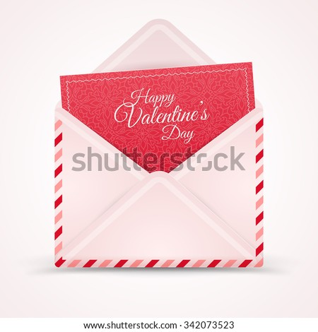 Realistic Mail Envelope, Letter Happy Valentine's Day. Vector illustration. Postal Message Icon. Open Envelope with Greeting Card Inside. Patterned Red Paper. Calligraphic Text Template.