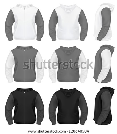 Realistic Men's Hoodie with Zipper - stock vector