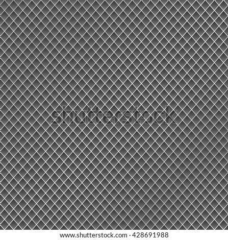 Realistic metal grid texture background. Structure of metal mesh fence with highlights and shadows. Vector backdrop. - stock vector