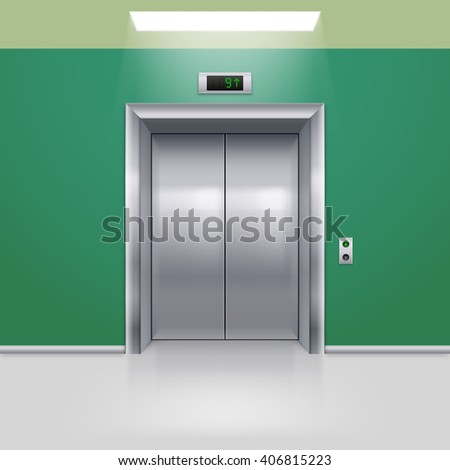Realistic Metal Modern Elevator with Closed Door in Green Hall
