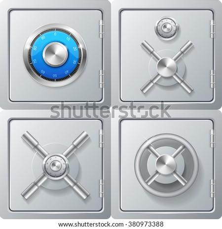 Realistic Metal Safe Set. Combination Lock. Vector illustration - stock vector