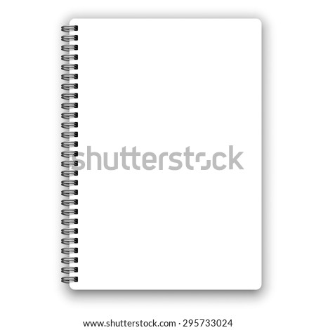 Realistic metal spiral vector blank notebook isolated on white - stock vector