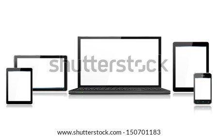 Realistic Mobile Computer Devices with laptop, tablet, mini tablet and smartphone each device grouped on a separate layer with reflections