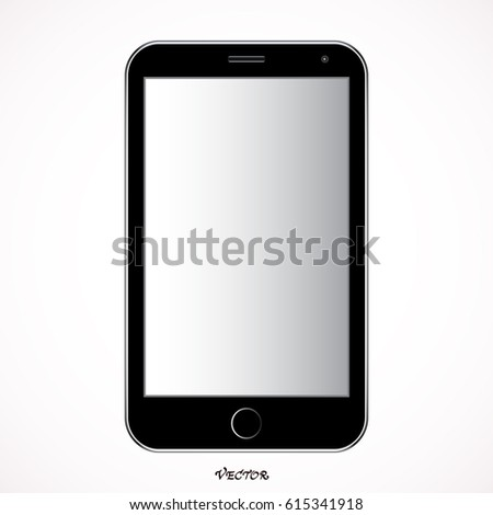 realistic mobile phone smartphone,  with blank screen isolated on white background. Vector illustration. for printing and web element, Game and application mockup.