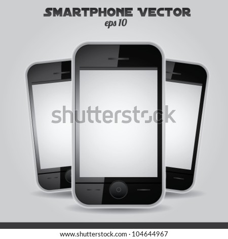 Realistic mobile phone vector white screen