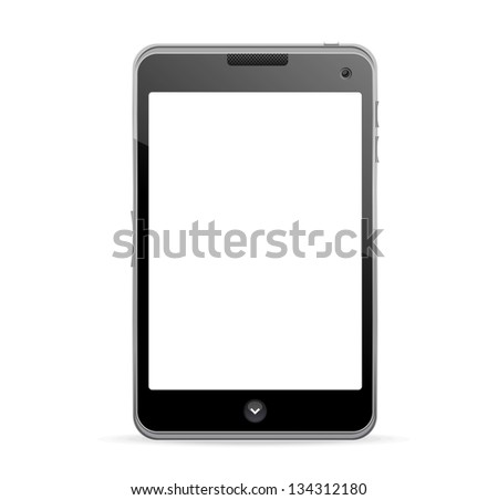 Realistic mobile phone with blank screen - stock vector