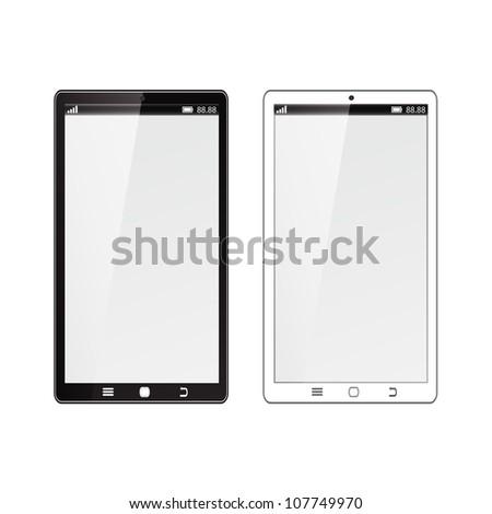 Realistic mobile phone with blank screen isolated on white background. - stock vector