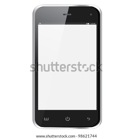 Realistic mobile phone with blank screen isolated on white background. Vector eps10 illustration - stock vector