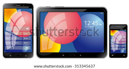 Realistic mobile tablets, smartphone and phone on a white background, vector illustration