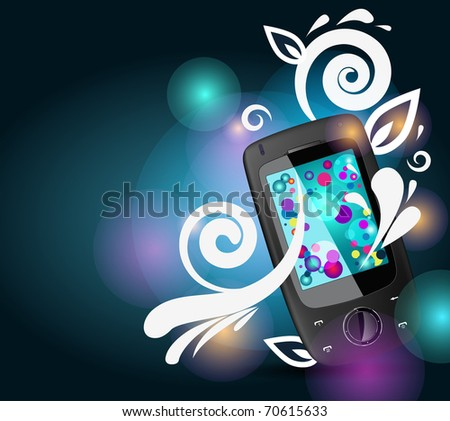 Realistic mobile vector phone with bright bubbles and floral pattern