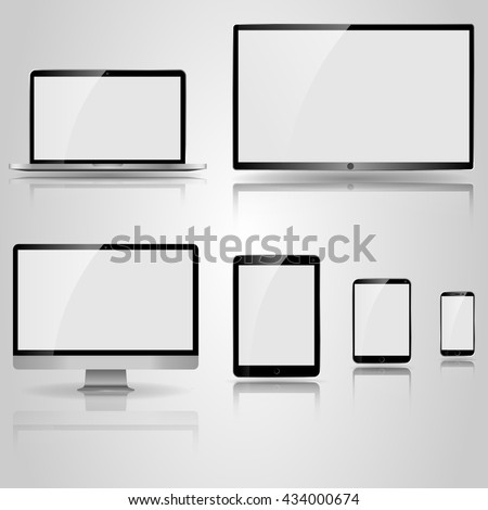 Realistic mockup devices. TV screen, LCD monitor and notebook, small tablet, tablet computer, mobile phone. Electronic devices infographic. Technology digital device. ipad iphone style devices. - stock vector