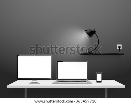 Realistic Mockup Vector of Opened Laptop, Flat Screen, Smart Phone