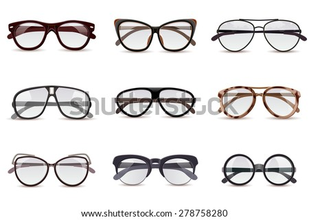 Realistic modern fashion eyeglasses assortment decorative icons set isolated vector illustration - stock vector