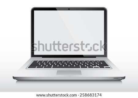 Realistic modern laptop vector isolated - stock vector