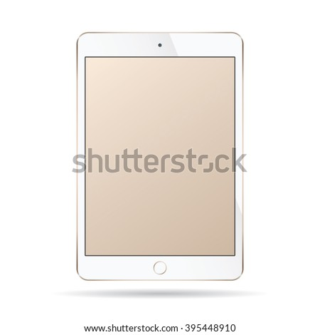 Realistic modern smart tablet ipad illustration with gold color isolated. - stock vector