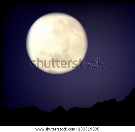 Realistic moon on night sky. Eps10 - stock vector