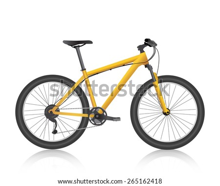 Realistic mountain bike gold vector