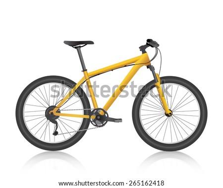 Realistic mountain bike gold vector - stock vector