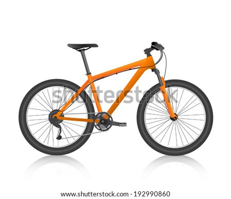 Realistic mountain bike orange vector - stock vector