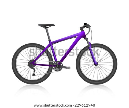 Realistic mountain bike violet vector - stock vector
