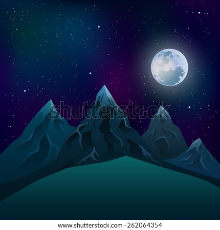 Realistic mountains at night during a full moon with a star neom - stock vector